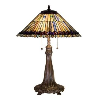 Meyda 27562 Jeweled Peacock Tiffany Table Lamp   Table Lamps