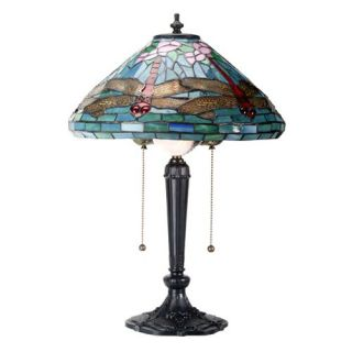 Art Glass by Summit Collection Tiffany Style Dragon Fly Lamp   Table Lamps