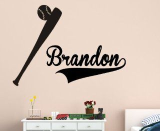 Personalized name with baseball and bat   Vinyl Wall Decal Sticker Boys Room Nursery Home D�cor Black Matte   Nursery Wall Decor