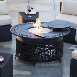 Palazetto San Miguel Cast Aluminum 48 in. Round Gas Fire Pit Chat Table   Fire Pits