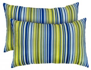 Greendale Home Fashions Rectangle Indoor Accent Pillows   19 x 12 in.   Vivid Stripe   Set of 2   Decorative Pillows