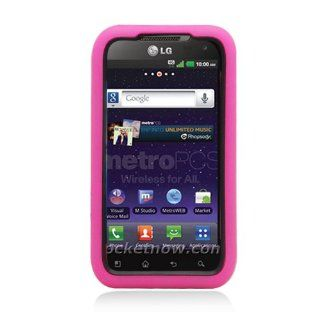 LG Connect 4G/Ms840/Viper 4G/Ls840 (Sprint) Armor Case Black Hard Cover+Hot Pink Silicone Case Cell Phones & Accessories