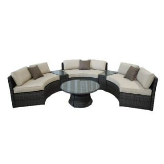 Kontiki Monte Carlo 6 Piece Conversation Group Benches with Side Tables & Coffee Table   Wicker Furniture
