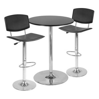 Winsome 3 Piece Pub Table Set with Curved Back Stool   Pub Tables