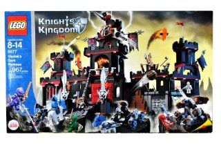 Lego Year 2005 Knights Kingdom Series Castle Set # 8877   VLADEK'S DARK FORTRESS with Spring Loaded Missiles, Catapult, Vat of Fake Boiling Oil, Scary Dungeon with Skeletons and Pretend Spider Webs, Horse Drawn Catapult Plus Lord Vladek, 3 Shadow Knigh