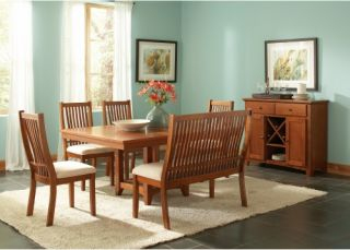 Steve Silver Tulsa 6 Piece Dining Table Set with Bench   Oak   Dining Table Sets