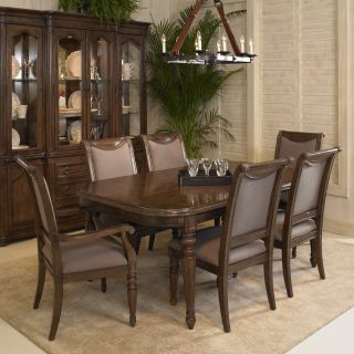 A.R.T. Furniture Cotswold 7 piece Leg Dining Table Set with Upholstered Back Chairs   Cognac Patina   Dining Table Sets