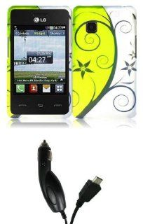 LG 840G   Accessory Combo Kit   Lily Flower Vines on Yellowish Neon Green Design Shield Case + Atom LED Keychain Light + Micro USB Car Charger Cell Phones & Accessories