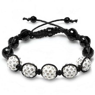 Bracelet Mens Ladies Unisex Hip Hop Style Pave Five Crystal White Disco Ball Faceted Bead Adjustable Jewelry
