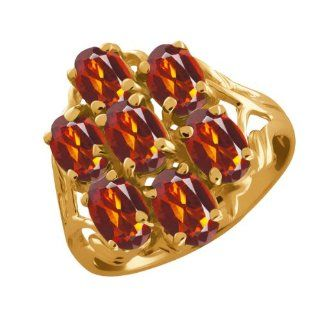 2.80 Ct Oval Orange Red Madeira Citrine 14k Yellow Gold Ring Jewelry