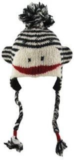 DeLux Cute Sock Monkey Wool Pilot Animal Cap/Hat with Ear Flaps and Poms   More Colors (Black/White Stripe) Clothing