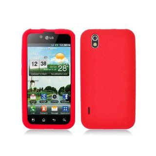 Red Soft Silicone Gel Skin Cover Case for LG Ignite 855 Marquee LS855 Sprint LG855 Boost L85C NET10 Straight Talk Optimus Black P970 L85C Majestic US855 US Cellular Cell Phones & Accessories