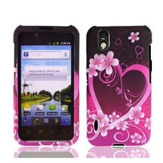 For Sprint LG Marquee LS855 Accessory   Purple Heart Design Case Proctor Cover + Free Lf Stylus Pen Cell Phones & Accessories