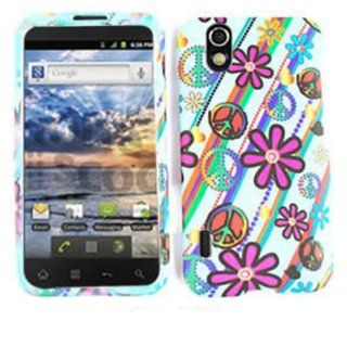 ACCESSORY MATTE COVER HARD CASE FOR LG MARQUEE / IGNITE LS 855 PRETTY FLOWERS PEACE SIGNS WHITE Cell Phones & Accessories