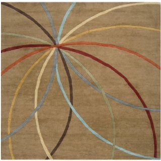 6' x 6' Plasma Elektra Contemporary Multi Colored and Tan Wool Area Throw Rug   Hand Tufted Rugs
