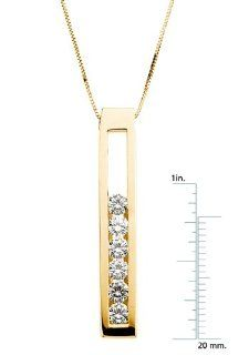 14 Karat Yellow Gold Moissanite Slide Pendant Necklace Diamond Designs Jewelry