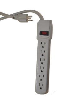 Uniqueware Six Outlet Power Strip, 125V, 2ft Cord, Platinum Electronics