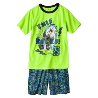 Cherokee Boys 2 Piece Lion Short Sleeve Tee and Short Pajama Set   Lime L