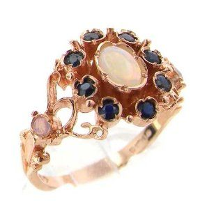 14K Rose Gold Womens Victorian Style Opal & Sapphire Ring   Finger Sizes 5 to 12 Available Jewelry