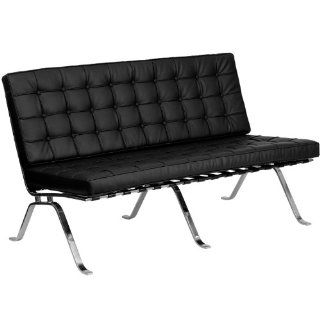 Flash Furniture HERCULES Flash Series Black Leather Love Seat with Curved Legs  Office Environment Sofas