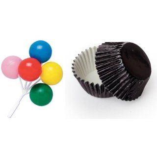 Dress My Cupcake B 901ASET STD FOIL BLK Standard Black Foil Liners/Rainbow Primary Colors Birthday Balloon Bouquet Pick Topper, Case of 36 Decorative Cake Toppers Kitchen & Dining