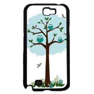 Teal Color Tree with Owls and Birds Samsung GALAXY Note II 2 Hard Case Cell Phones & Accessories