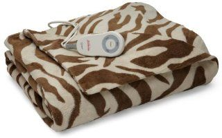 Sunbeam TW8225 030 907 Heated Electric Microplush Throw, Zebra Brown   Electric Blankets