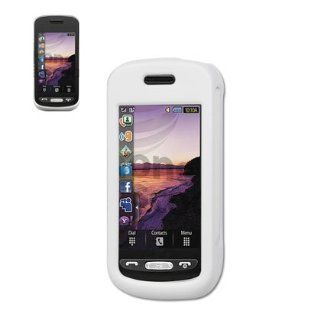 New Fashionable Perfect Fit Rubberized Protector Skin Cover Cell Phone Case (Hard) with Clip for Samsung Solstice SGH A887 AT&T   WHITE Cell Phones & Accessories