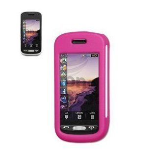 Fashionable Perfect Fit Rubberized Protector Skin Cover Cell Phone Case (Hard) with Clip for Samsung Solstice SGH A887 AT&T   HOT PINK Cell Phones & Accessories