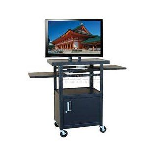 "Buhl Flat Screen Monitor Cart With Cabinet And 26"" To 42"" Height Adjustment  Audio Video Equipment Carts"