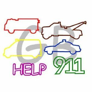 EMERGENCY 911 Fire Truck Ambulance Police Car Help Goofy Bands Rubber Bandz Bracelets 24pk Toys & Games
