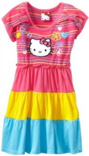 Hello Kitty Girls 2 6X Printed Short Sleeve Dress, Cerise, 2T Clothing