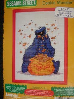 "Sesame Street's ""Cookie Monster"" Counted Cross Stitch Kit + Frame"