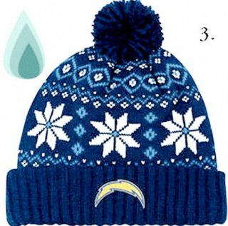 SAN DIEGO CHARGERS Womens Chunky Pom Cuffed Knit Beanie Hat By Reebok  Sports Fan Beanies  Sports & Outdoors