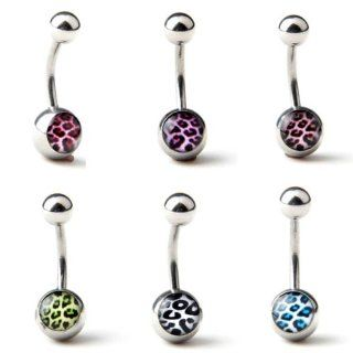 "Lot of 6 Assorted 316L Surgical Steel Leopard Print Navel Ring Belly Bar Button Stud Ball 14 Guage 3/8"" Jewelry"