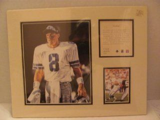"Vintage   TROY AIKMAN (Dallas Cowboys / NFL / Hall of Famer)   1996   LIMITED EDITION Original Art KRSI (Kelly Russell Studio Inc.) Collectibles   Matted Lithograph Individually Numbered PRINT #11558 (approx. 11"" x 14"") / Original Painting by Tim"