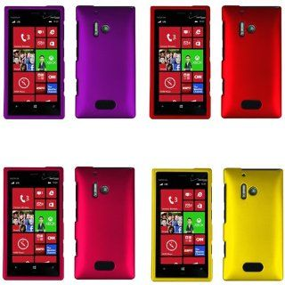 iFase Brand Nokia Lumia 928 Combo Rubber Red + Rubber Purple + Rubber Rose Pink + Rubber Yellow Protective Case Faceplate Cover for Nokia Lumia 928 Cell Phones & Accessories