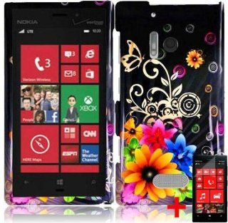 NOKIA LUMIA 928 COLORFUL FLOWER BUTTERFLY BLACK COVER SNAP ON HARD CASE + SCREEN PROTECTOR from [ACCESSORY ARENA] Cell Phones & Accessories