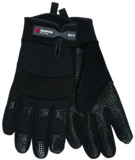 MCR Safety 907M Memphis Synthetic Palm Multi Task Gloves with Adjustable Wrist Closure, Black, Medium, 1 Pair   Work Gloves