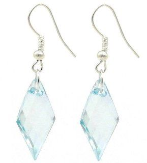 Diamond Shaped Light Blue Dangle Earrings Stylish Jewellery Jewelry