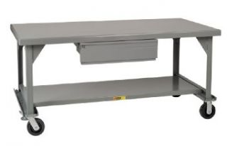 "Little Giant WW 3672 HD 6PHFL Welded Steel Mobile Workbench with Casters, Floor Lock and Heavy Duty Drawer, Gray, 3600 lbs Load Capacity, 34"" Height x 72"" Width x 36"" Depth Service Carts"