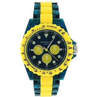 Identity London Unisex Yellow & Green Mock Sub Dial Plastic Strap Watch 932/3489 Watches