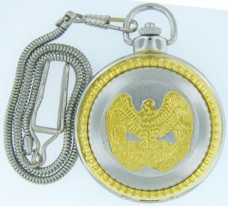 "Pocket Watch   914,silver  Tone High Polished Bald Eagle Pocket Watch with 14"" Clip on Chain Jewelry"