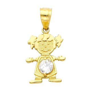 14K Yellow Gold April CZ Birthstone Girl Charm Pendant for Baby and Children (White Tapaz) Jewelry