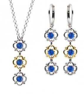 Lucia Costin Sterling Silver, Blue Crystal Jewelry Set, Fancy Ornamented Jewelry