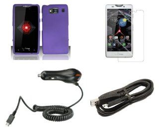 Motorola Droid Razr HD XT926 (Verizon) Premium Combo Pack   Purple Hard Shield Case + ATOM LED Keychain Light + Screen Protector + Micro USB Cable + Car Charger Cell Phones & Accessories
