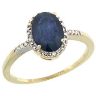 14K Yellow Gold Natural Diamond Blue Sapphire Ring Oval 8x6mm, 3/8 inch wide, sizes 5 10 Jewelry