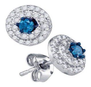0.53 cttw 10k White Gold Blue Diamond Drop Earrings (Real Diamonds 0.53 cttw) Jewelry