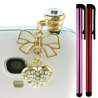 FiMeney Lovely Crystal Diamond Bow Bowknot Love Heart Pendant Anti Dust Plug Stopper For HTC one, iPhone 3 3GS 4 4S 5 5C 5S, iPad 1 2 3 4 Mini, Samsung Galaxy Note N7100 2, Galaxy S3 I9300, I8190, I8262D, S2, I9100, I9268, S5830, I9000, Samsung i9500 Galax