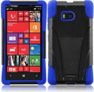 For Nokia Lumia 929 Cover Case (T Stand Hybrid Black / Dark Blue) Cell Phones & Accessories